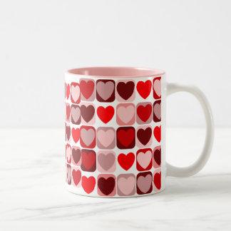 Remiendo de la tarjeta del día de San Valentín Taza
