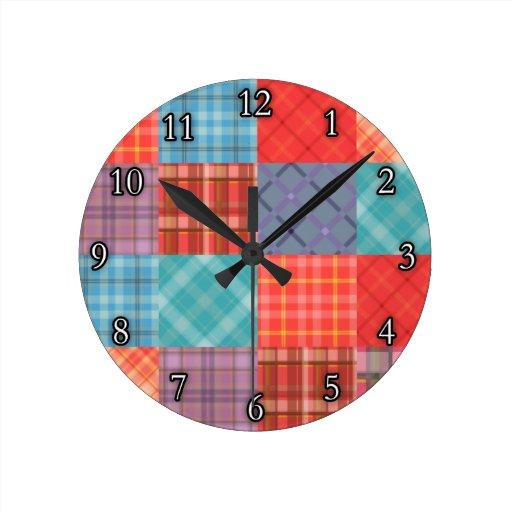 Remiendo de Madras Reloj Redondo Mediano