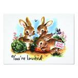 Remiendo del conejito (d) invitación 12,7 x 17,8 cm