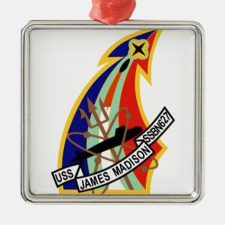 Remiendo del submarino de USS James Madison Adorno Navideño Cuadrado De Metal