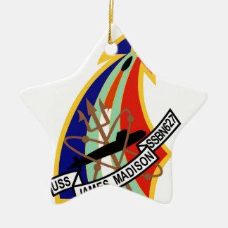 Remiendo del submarino de USS James Madison Adorno Navideño De Cerámica En Forma De Estrella