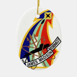Remiendo del submarino de USS James Madison Adorno Navideño Ovalado De Cerámica