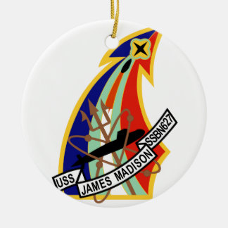 Remiendo del submarino de USS James Madison Adorno Navideño Redondo De Cerámica
