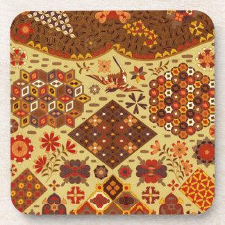 Remiendo del vintage floral - en colores del otoño posavasos