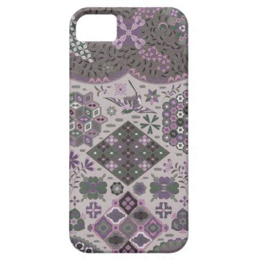 Remiendo del vintage floral - rosa y verde iPhone 5 fundas