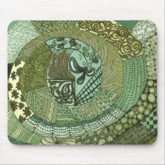 Remiendo del vintage - verde mouse pads