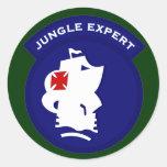 Remiendo experto del bolsillo de la selva etiqueta redonda