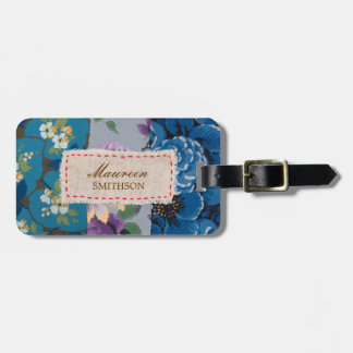 Remiendo floral de la tela (azul) personalizado etiqueta de equipaje