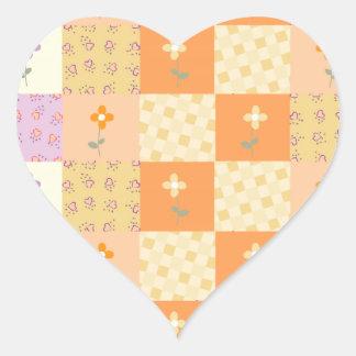 Remiendo floral femenino pegatina en forma de corazón