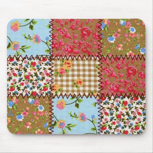 Remiendo floral Mousepad de la tela