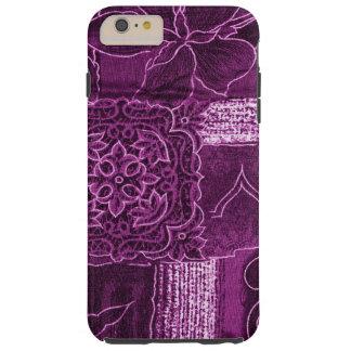 Remiendo, flores, pétalos, remolinos - púrpura funda de iPhone 6 plus tough