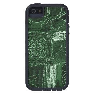 Remiendo, flores, pétalos, remolinos - verde iPhone 5 cárcasa