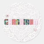 """Remiendo """"Grandmum"""" en cordón Etiquetas"""