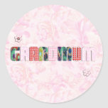 "Remiendo ""Grandmum"" en rosas rosados Etiqueta"