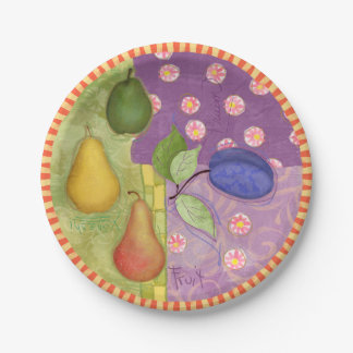 Remiendo modelado de las frutas del verano plato de papel 17,78 cm
