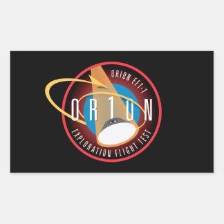 Remiendo oficial de la misión del vuelo de Orión Rectangular Pegatinas