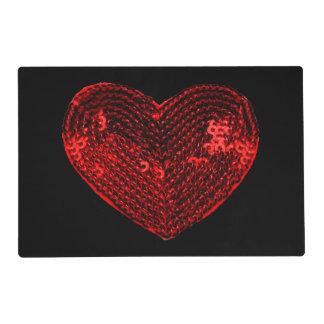 Remiendo rojo de las lentejuelas del corazón del tapete individual