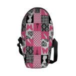 Remiendo rosado y negro bolsas messenger