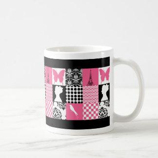 Remiendo rosado y negro taza de café