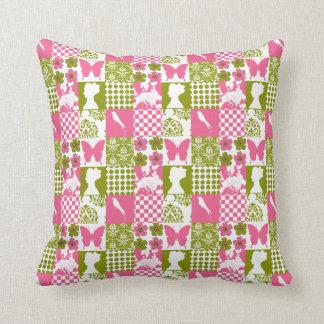 Remiendo rosado y verde cojines