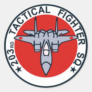 remiendo táctico del combatiente 203SQ Pegatina Redonda