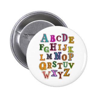 Remiendos del alfabeto pin redondo de 2 pulgadas