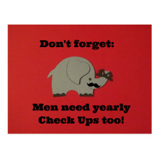 Reminder for men to get yearly check ups. postcard