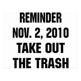 Reminder Nov. 2, 2010 Take Out The Trash Postcard