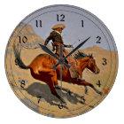 Remington: The Cowboy, American cowboy art Large Clock