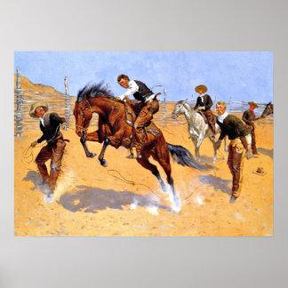 Remington - Turn Him Loose, Bill - Cowboy art Poster