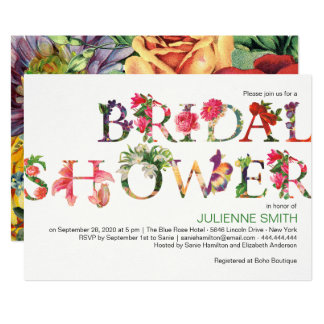 Reminiscence | Modern floral bridal shower Card