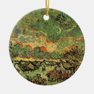 Reminiscencia de los cipreses de las cabañas de adorno navideño redondo de cerámica