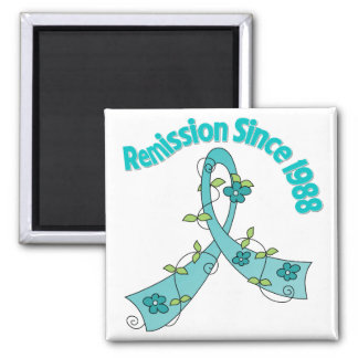 Remission Since 1988 Ovarian Cancer 2 Inch Square Magnet