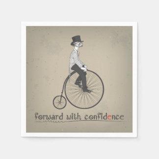 Remita con la bicicleta del vintage de la servilleta desechable