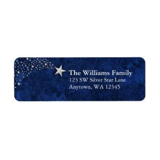 Remite azul del Shooting Stars de plata Etiqueta De Remite