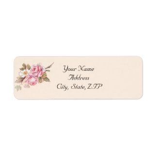 Remite color de rosa del vintage y del petirrojo r etiqueta de remite