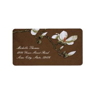 Remite de Brown y de la magnolia blanca Etiqueta De Dirección