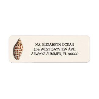 Remite de encargo de la crema del Seashell de Etiqueta De Remite