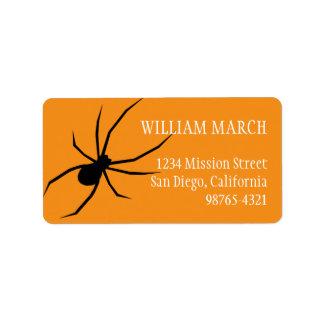 Remite de Halloween de la araña negra anaranjada Etiquetas De Dirección