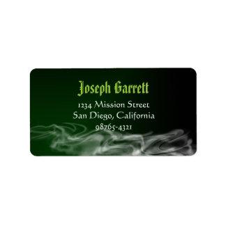 Remite de Halloween del humo verde travieso Etiquetas De Dirección