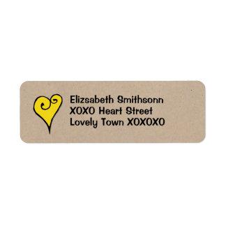 Remite de Kraft del corazón del amarillo del Etiqueta De Remitente
