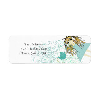 Remite de la invitación de la fiesta del té del an etiquetas de remite