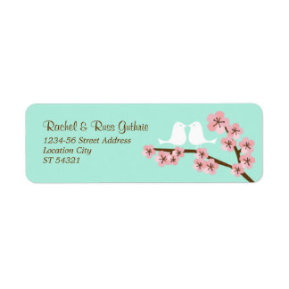 Remite de la menta y de la flor de cerezo rosada etiquetas de remite