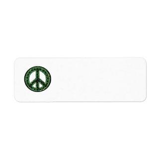 Remite de la paz verde etiqueta de remite