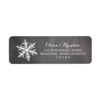 Remite de la pizarra de los copos de nieve de etiqueta de remite