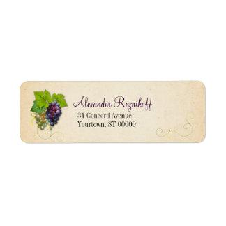 Remite de la vid de uva etiquetas de remite