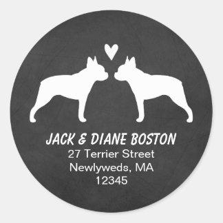 Remite de las siluetas de Boston Terrier Pegatina Redonda