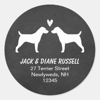 Remite de las siluetas de Jack Russell Terrier Pegatina Redonda