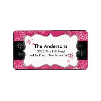 Remite de las vacaciones de invierno negras rosada etiquetas de dirección