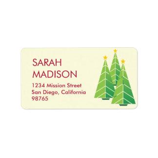 Remite de los árboles de navidad verdes contemporá etiquetas de dirección